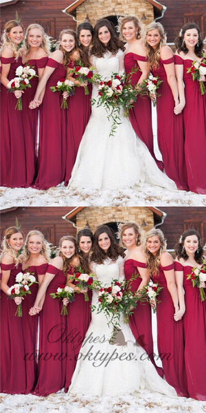 A-Line Off-the-Shoulder Burgundy Chiffon Bridesmaid Dresses, TYP1402