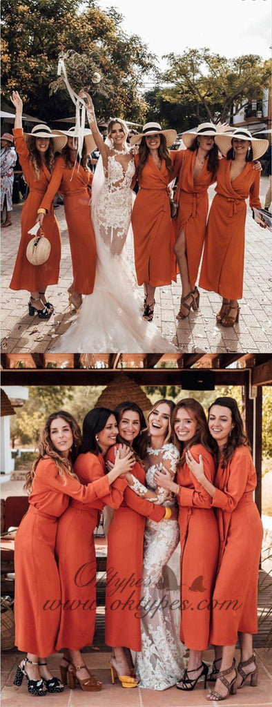 Shift V-Neck Long Cheap Orange Chiffon Bridesmaid Dresses with Long Sleeves, TYP1320