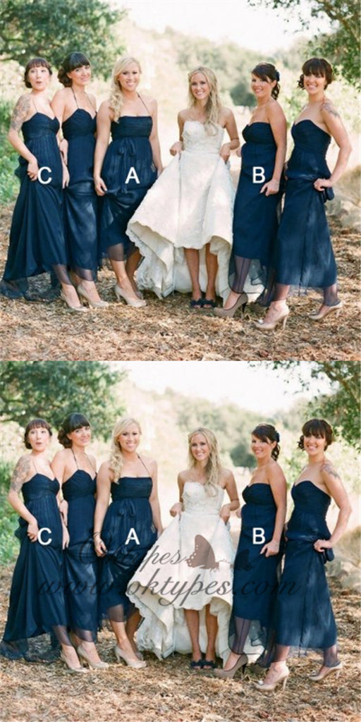 Mismatched A-Line Halter Pleated Navy Blue Tulle Bridesmaid Dresses, TYP1474