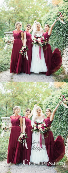 Burgundy Long Bridesmaid Dresses Modest Lace Applique Formal Dresses, TYP1234