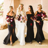 Hot Selling Charming Mismatched Black Long Cheap Wedding Party Bridesmaid Dresses, TYP2049