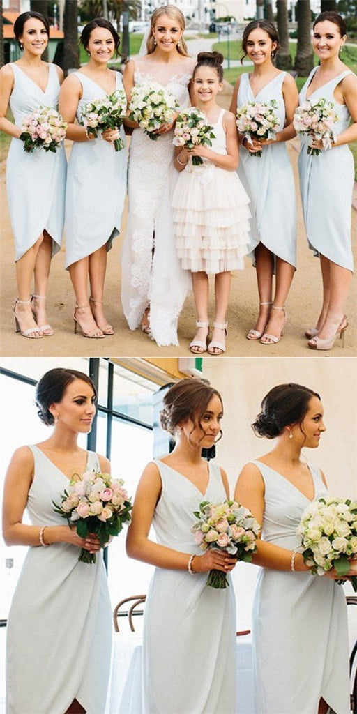 Sexy V-Neck Sleeveless Asymmetry Light Blue Satin Short Cheap Bridesmaid Dresses Online, TYP0145