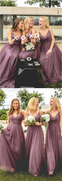 Sexy Spaghetti Straps Long Cheap Light Purple Tulle Bridesmaid Dresses Online, TYP1055