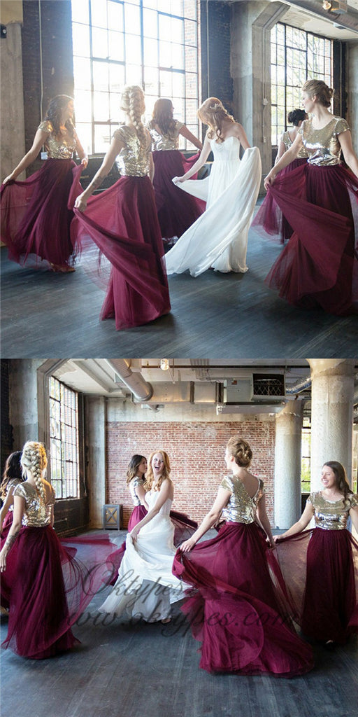 A-Line Round Neck Long Burgundy Bridesmaid Dress with Sequins, TYP1410