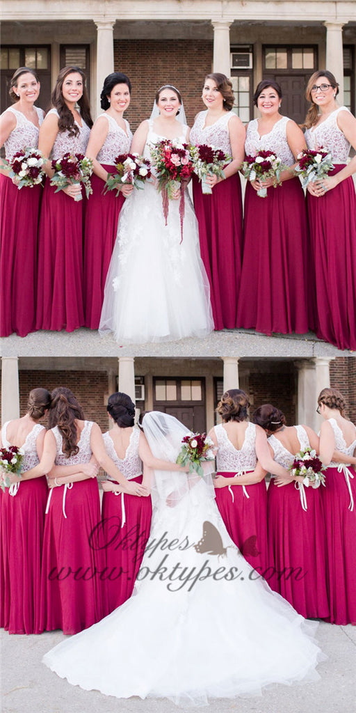 A-Line V-Neck Long Cheap Fuchsia Bridesmaid Dresses with Lace, TYP1539