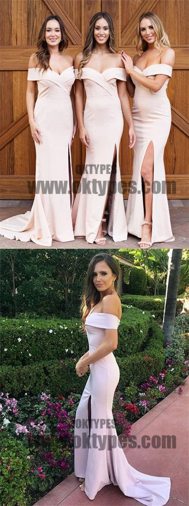 Light Pink Off-shoulder Side Split Satin Bridesmaid Dresses, Bridesmaid Dresses, TYP0588
