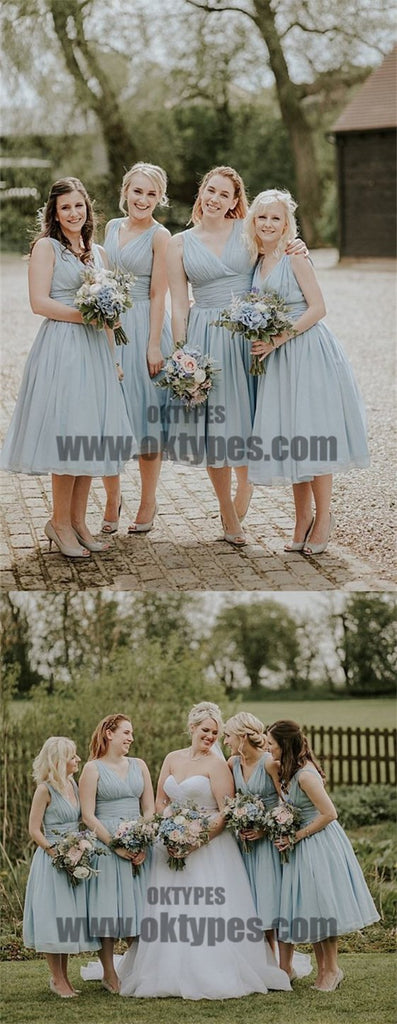 2018 Newest Spaghetti Strap V-neck Chiffon Skirt Bridesmaid Dresses, TYP0590