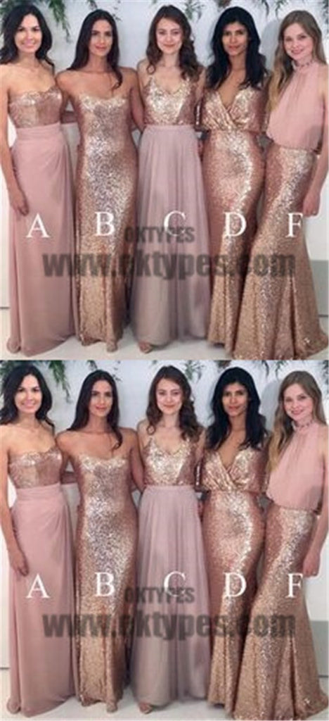 Mismatch Sequin And Chiffon Bridesmaid Dresses, Sweetheart Bridesmaid Dresses, TYP0591
