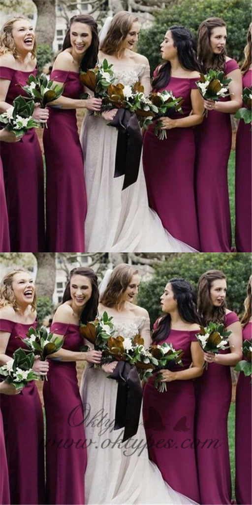 Sheath Off-the-Shoulder Short Sleeves Long Fuchsia Bridesmaid Dresses, TYP1370