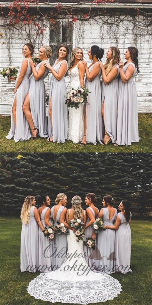 A-Line V-neck Backless Long Cheap Light Grey Chiffon Bridesmaid Dresses with Split, TYP1366