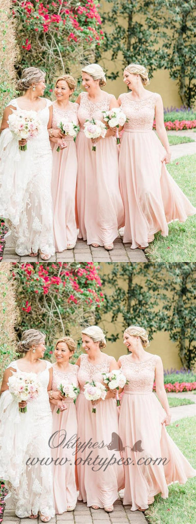 Blush Pink Long Bridesmaid Dresses Lace Bodice Blushing Wedding Party Dresses, TYP1210