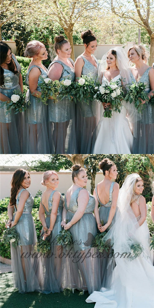 Sheath V-Neck Backless Grey Bridesmaid Dresses with Sequins, TYP1537