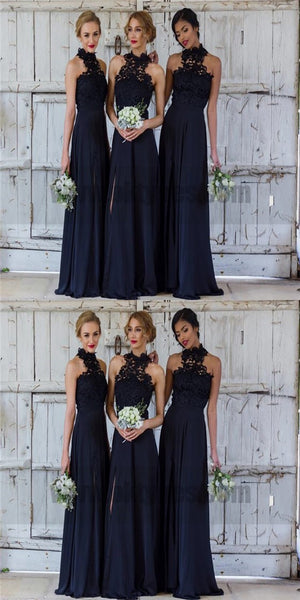 Lace Elegant A-line Bridesmaid Dresses, Halter Dark Navy Chiffon Bridesmaid Dress,Long Bridesmaid Dress With Slit, TYP0751