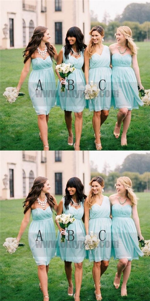 Mismatched Short Light Blue Sweetheart Bridesmaid Dresses, Cheap Bridesmaid Dresses, TYP0728