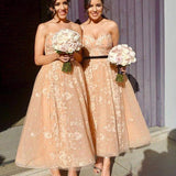Sweetheart Charming Sleeveless Lace A-line Long Cheap Bridesmaid Dresses, BDS0001