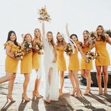 Newest Charming Simple Off-The-Shoulder Short Cheap Yellow Bridesmaid Dresses With Ruffles, TYP2043