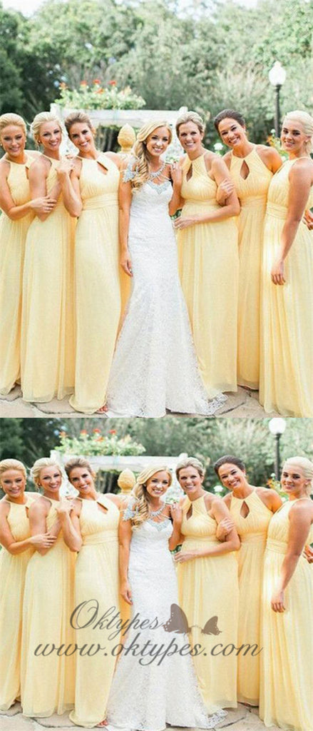 Long Chiffon Halter Backless Yellow Bridesmaid Dresses Plus Size, TYP1201