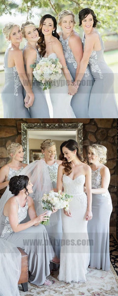 Mermaid Round Neck Long Grey Bridesmaid Dress with Appliques, Bridesmaid Dresses, TYP0729