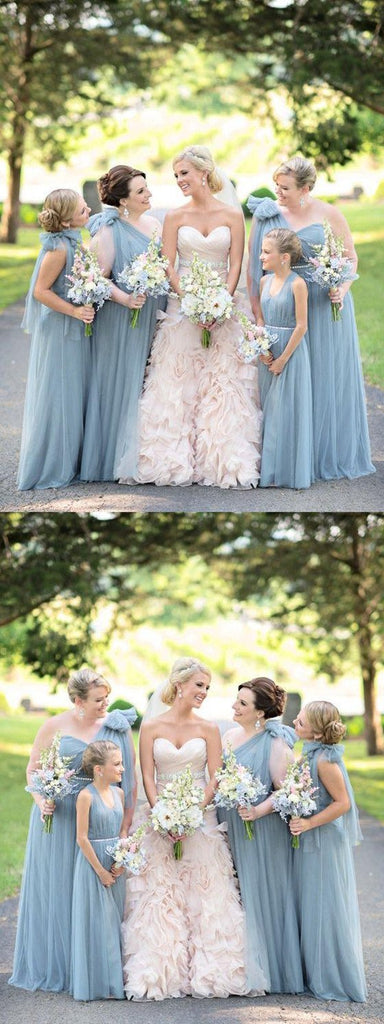 Blue One Shoulder Floor-length Sweetheart Tulle Bow-knot Long Bridesmaid Dresses Online, TYP1097