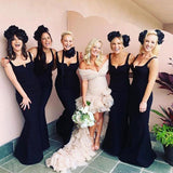 Charming Black Spaghetti Strap Sleeveless Mermaid Long Cheap Wedding Party Bridesmaid Dresses, BDS0002