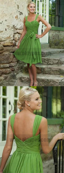 Cheap Short Green Spaghetti Strap Bridesmaid Dresses, Zipper Backless Bridesmaid Dresses, TYP0727