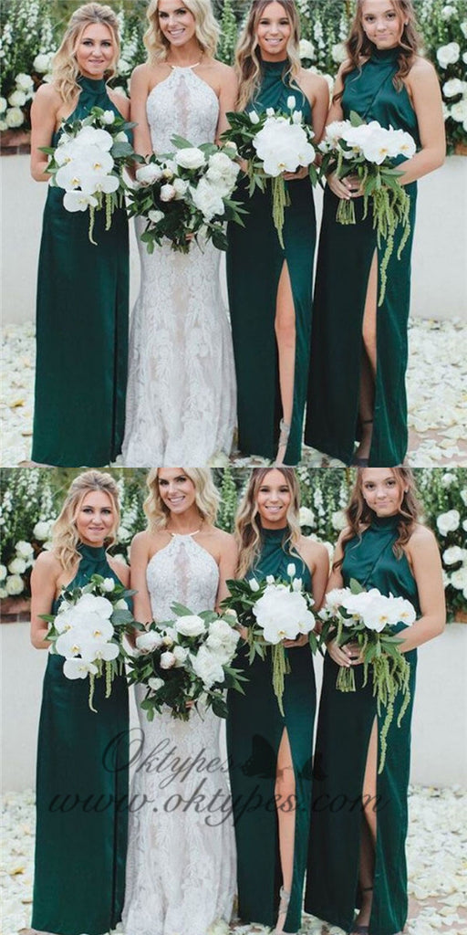 Sheath High Neck Long Cheap Dark Green Bridesmaid Dresses with Split, TYP1367