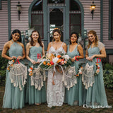 Newest Mismatched Charming Elegant Long Cheap Tulle Wedding Party Bridesmaid Dresses, TYP2041