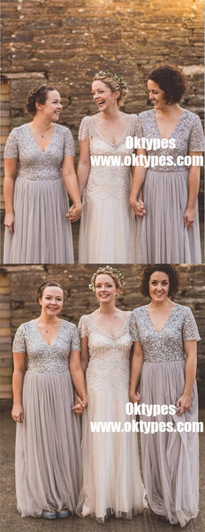 A-Line V-Neck Short Sleeves Grey Tulle Bridesmaid Dress with Sequins, TYP0911