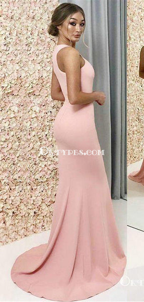 Cheap Long A-Line Halter Pink Satin Bridesmaid Dresses, TYP0951