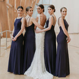 Navy Blue Chiffon Backless Mermaid Long Cheap Bridesmaid Dresses, BDS0073