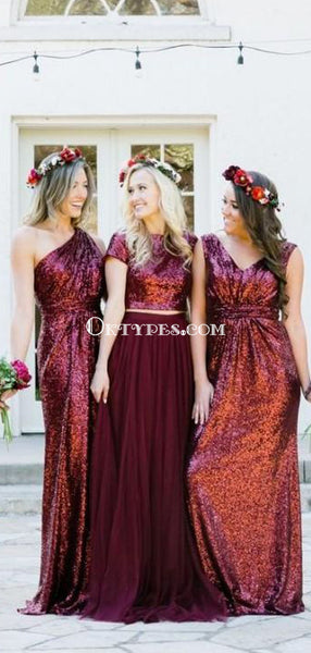 Dark Red Sequin Mismatched Custom Long Bridesmaid Dresses, TYP0792