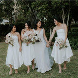 Elegant Strapless White Double Fdy Keen-Length A-line Cheap Bridesmaid Dresses, BDS0051