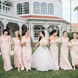 Sweetheart Charming Pink Chiffon A-line Long Cheap Bridesmaid Dresses, BDS0047