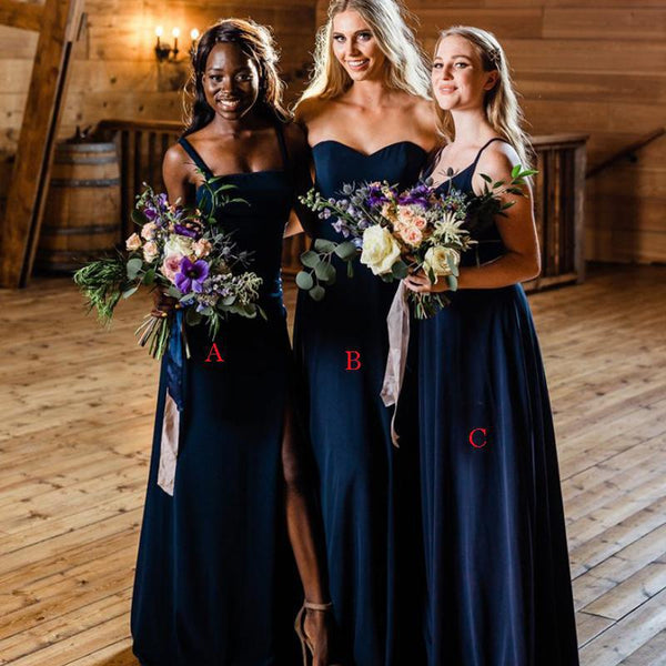 Mismatched Navy Blue Spaghetti Strap A-line Long Cheap Bridesmaid Dresses, BDS0008