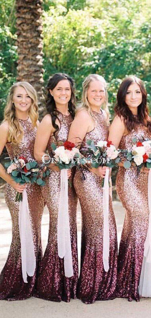 Mermaid Round Neck Long Ombre Sequined Bridesmaid Dresses, TYP1560