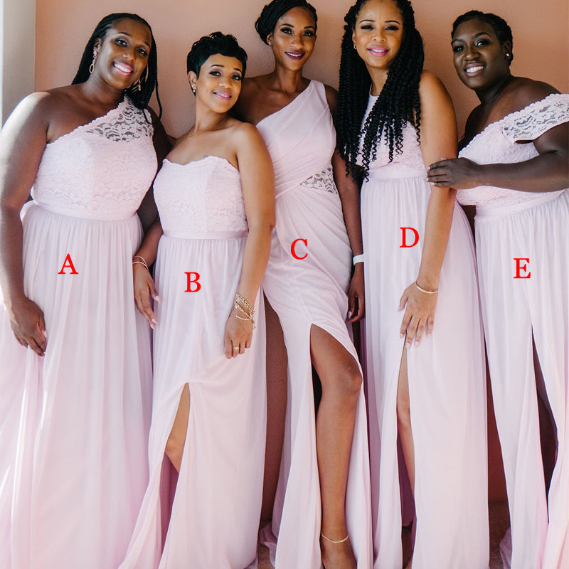 Mismatched Blush Pink Chiffon Side Slit A-line Long Cheap Bridesmaid Dresses, BDS0105