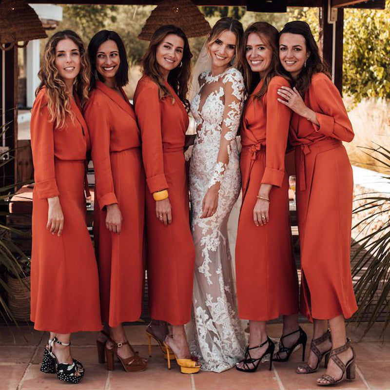 Long Sleeves V-neck Orange Side Slit Long Cheap Bridesmaid Dresses, BDS0094