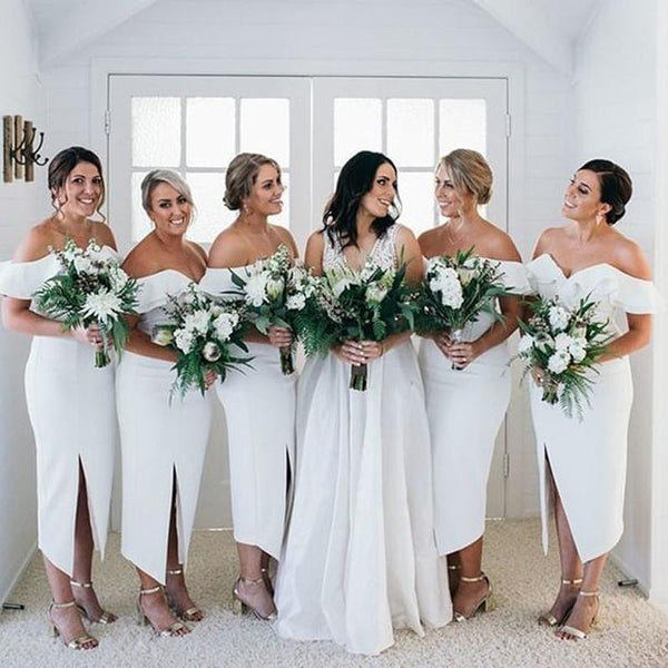 Simple Off-The-Shoulder White Satin Side Slit Tea-Length Cheap Bridesmaid Dresses, BDS0011