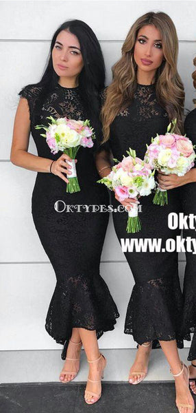 Mermaid Round Neck Asymmetry Black Lace Bridesmaid Dresses with ruffles, TYP0912