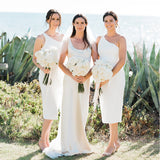 One Shoulder White Mermaid Tea Length Cheap Bridesmaid Dresses, BDS0086