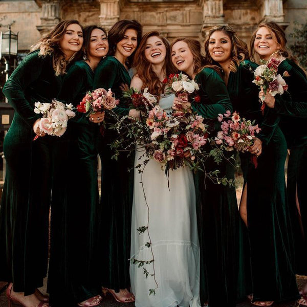 Charming V-neck Long Sleeves Green Velvet Side Slit Mermaid Long Cheap Bridesmaid Dresses, BDS0048