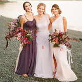Mismatched Charming One-Shoulder A-line Long Cheap Wedding Party Bridesmaid Dresses, BDS0007