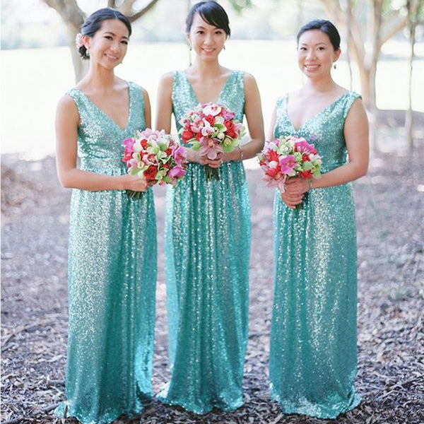 Sparkly V-neck Mint Sequin Long Cheap Wedding Party Bridesmaid Dresses, BDS0012