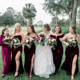 Mismtached Burgundy Velvet Mermaid Long Cheap Bridesmaid Dresses, BDS0072