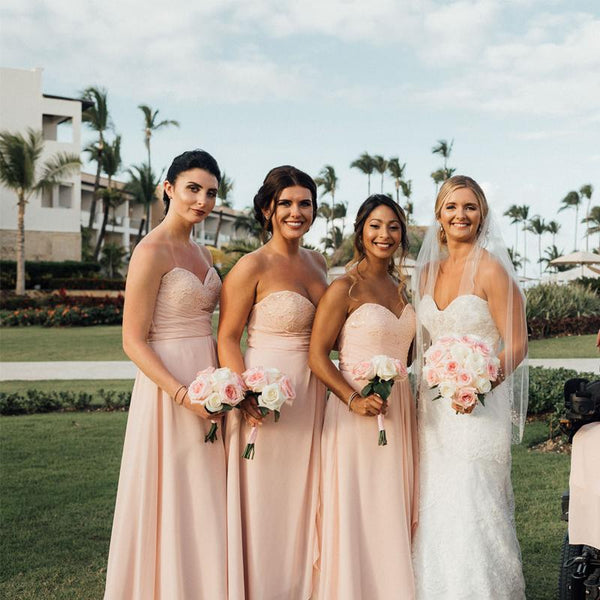 Sweetheart Charming Pink Chiffon A-line Long Cheap Bridesmaid Dresses, BDS0046