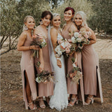 Simple V-neck Jersey Side Slit Long Cheap Bridesmaid Dresses, BDS0052