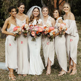 Mismatched Ivory Elastic Silk Long Charming Cheap Bridesmaid Dresses, BDS0054