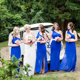 Charming One Shoulder Royal Blue Chiffon Side Slit Long Cheap Bridesmaid Dresses, BDS0044