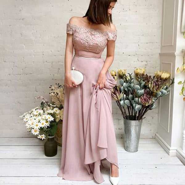 Charming Off-The-Shoulder Dusty Pink Chiffon Appliqued Chiffon Long Cheap Bridesmaid Dresses, BDS0006