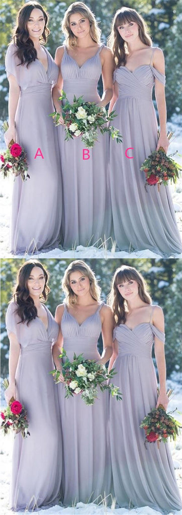 Grey Mismatched Long Chiffon Cheap Bridesmaid Dresses Online, TYP0586